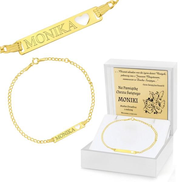 złota bransoletka z grawerem dla dziecka na chrzest