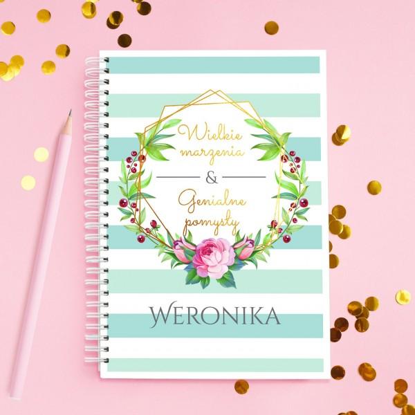 notatnik personalizowany na prezent dla przyjaciółki marzenia & pomysły
