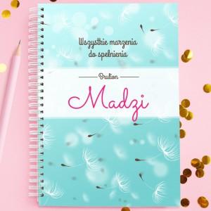 personalizowany notatnik na prezent dla niej marzenia do spełnienia