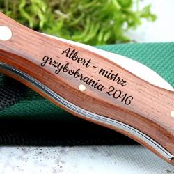 grawerowany nóż na prezent dla grzybiarza