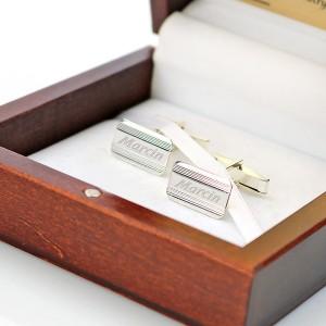 grawerowane srebrne spinki