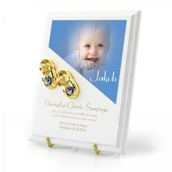 złote buciki na chrzest na prezent dla chłopca