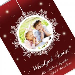 spersonalizowana kartka z nadrukiem fotografii na boże narodzenie dla dziadków