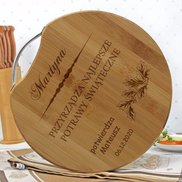 bambusowa deska do krojenia z grawerem na prezent
