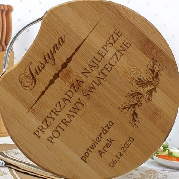 pomysł na prezent - drewniana deska do krojenia z grawerem dedykacji