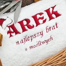 haftowany ręcznik na mikołajki dla brata
