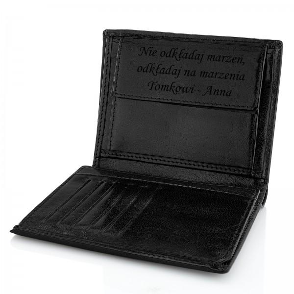 portfel z grawerem na gwiazdkę