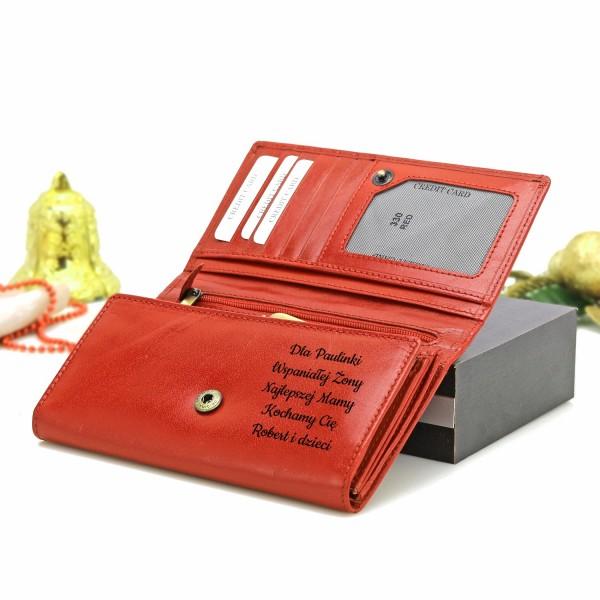 portfel z grawerem na prezent na mikołaja dla niej