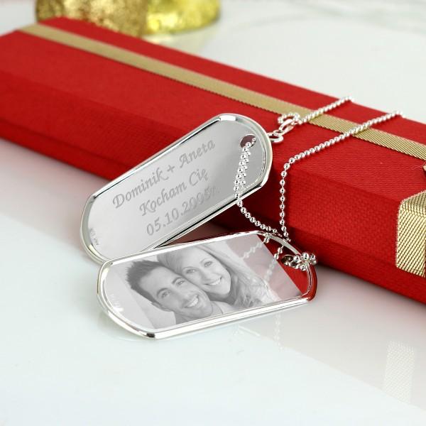 nieśmiertelnik srebrny + grawerowanie - w pudełku na prezent