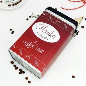 metalowa puszka na kawę z personalizacją