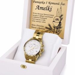 prezent na komunię zegarek w szkatułce z grawerem