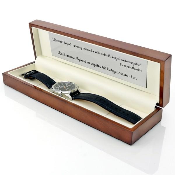 zegarek timex w drewnianym etui z grawerem