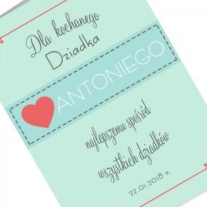kartka z życzeniami i nadrukiem dedykacji na prezent na dzień dziadka