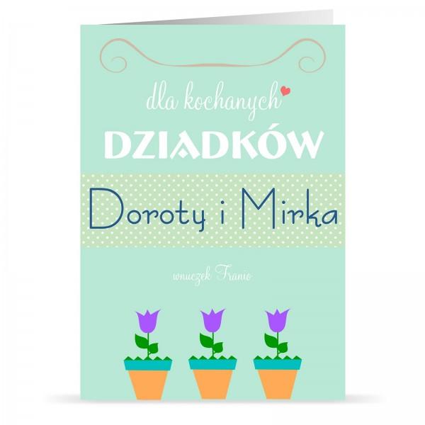 kartka z personalizacją na prezent na dzień babci i dziadka