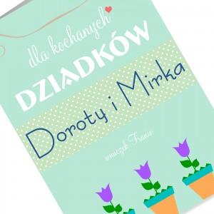 kartka z życzeniami i nadrukiem dedykacji na prezent na dzień babci i dziadka