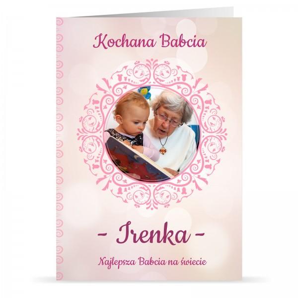 kartka z personalizacją i nadrukiem fotografii na prezent na dzień babci