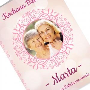 kartka z życzeniami i nadrukiem dedykacji i fotografii na prezent na dzień babci