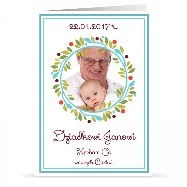 kartka z personalizacją i nadrukiem fotografii na prezent na dzień  dziadka