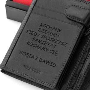 skórzany portfel z grawerem dedykacji na prezent na dzień dziadka