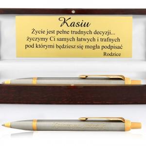 długopis Parker IM Brushed Metal GT w drewnianym etui na prezent