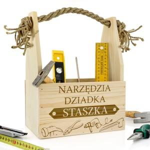 skrzynka na narzędzia z personalizacją dla dziadka
