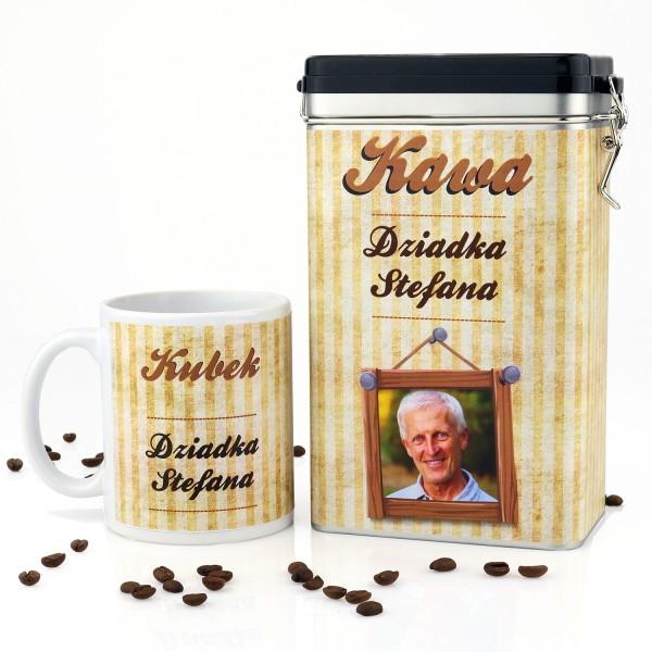personalizowana puszka na kawę z kubkiem