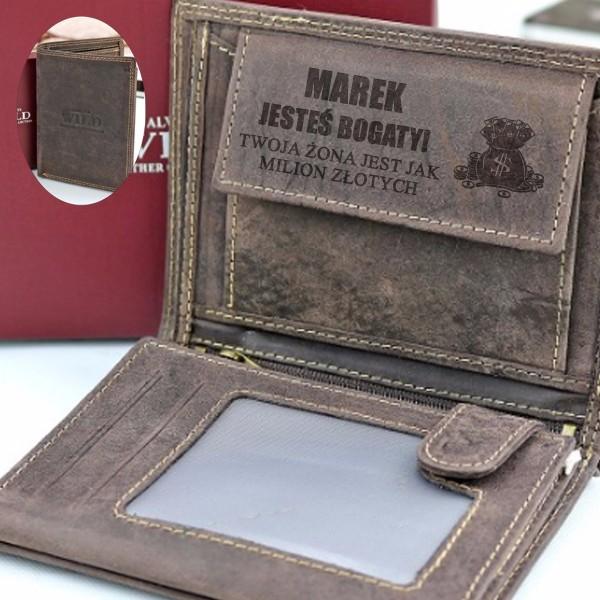 portfel z grawerem dla męża