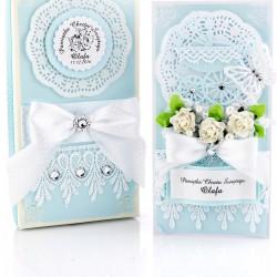 pamiątka chrztu świętego dla chłopca - kartka ręcznie robiona w pudełku