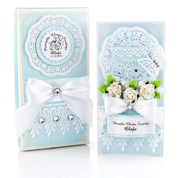 kartka ręcznie robiona z okazji chrztu św. w pudełku dla chłopca