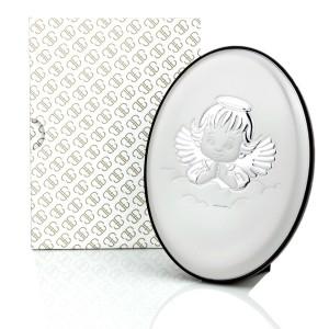 obrazek srebrny z aniołkiem na prezent