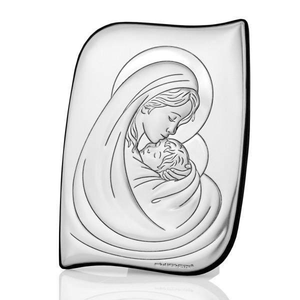 srebrny obrazek matka boska na prezent na chrzest dla dziecka