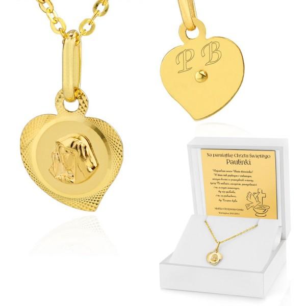 złoty łańcuszek z medalikiem na chrzest w pudełku z dedykacją