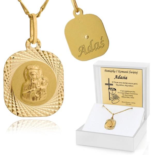 łańcuszek z medalikiem na komunię dla chłopca w pudełku z grawerem