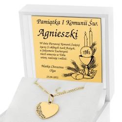 złota biżuteria z grawerem na komunię