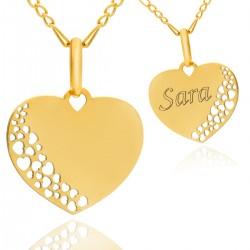 złota zawieszka serce z grawerem