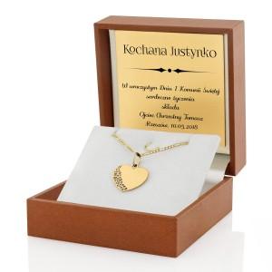 złote serce na prezent na pierwsza komunię świętą