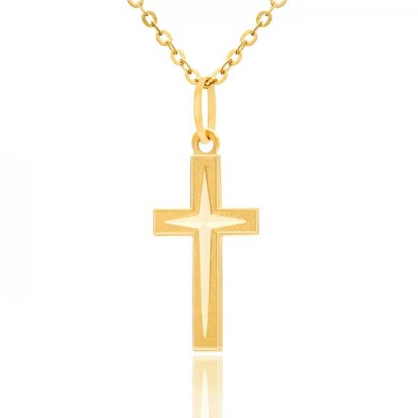 złoty krzyżyk z łańcuszkiem 585