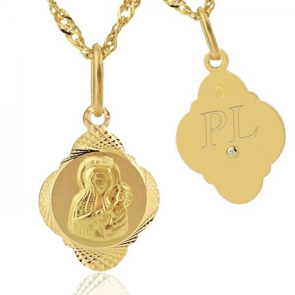 złoty medalik 585 z grawerem inicjałów dziecka na I Komunię