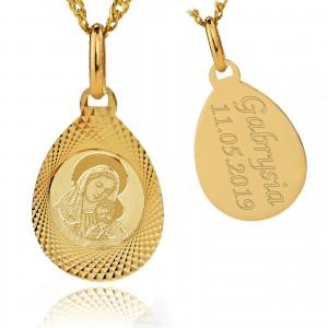 złoty medalik z grawerem 585