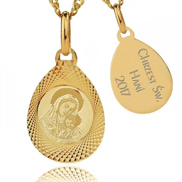 złoty medalik z łańcuszkiem 585