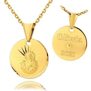 srebrny medalik na chrzest dla chłopca próba 925