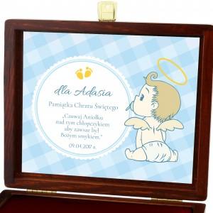 biblia na chrzest w brązowej szkatułce z dedykacją