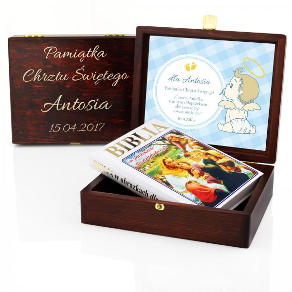 biblia w obrazkach na prezent w brązowej szkatułce z grawerem