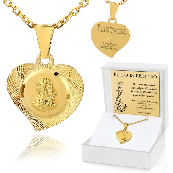 srebrny łańcuszek z medalikiem na komunię dla dziewczynki