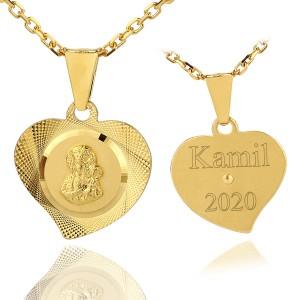pozłacany medalik z łańcuszkiem na komunię dla chłopca