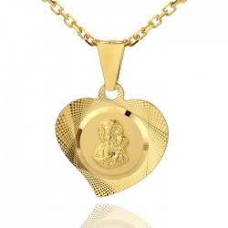 grawerowany srebrny medalik w kształcie serduszka
