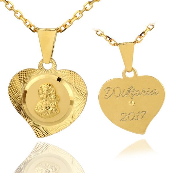 srebrny medalik pr. 925 ze złoceniem
