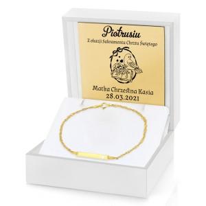 złota bransoletka z grawerem na chrzest