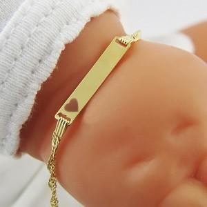 złota biżuteria dziecięca z grawerem
