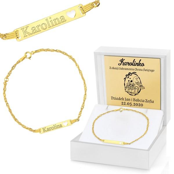 złota bransoletka na chrzest dla dziewczynki